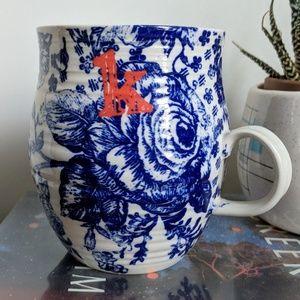 Anthropologie Monogram K Initial Floral Mug Cup